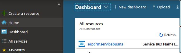 ServiceBus namespace resource in Dashboard