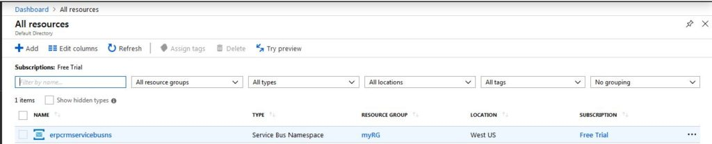 Selecting ServiceBus namespace in Dashboard