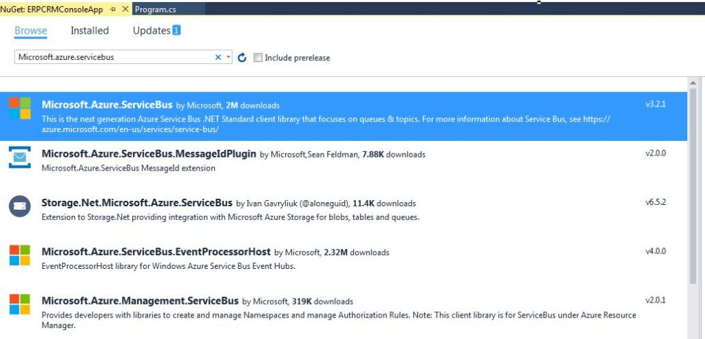 Adding Microsoft.Azure.ServiceBus nuget package to the .Net Core Console app
