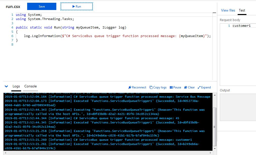 Testing Azure Function by sending a Customer name as string parameter